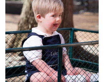 Monogrammed Shortall, Navy Ric Rac Shortall, Personalized Boys Outfit, Baby Shortall, Toddler Shortall, Boy's Clothing