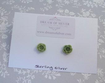 Blossom Stud Earrings - Green