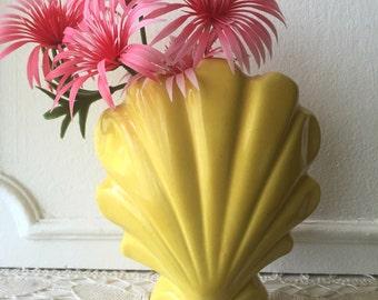 California Pottery Yellow Shell Vase