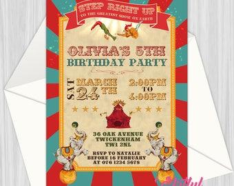 Printable Retro Trapeze Circus Invitation   Personalized