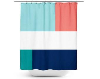 Shower Curtain, Color Block Bath Curtain,Coral Aqua Navy White
