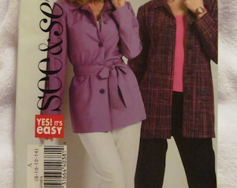 See & Sew By Butterick B4709 UNCUT Pattern / Ladies Jacket and Belt / Sizes 8-10-12-14