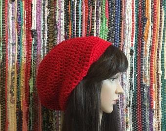 Slouch Beanie, Slouchy Beanie, Crochet Beanie, red slouch hat, slouch hat, slouchy hat, womens slouch hat, Women's beanie, crochet hat