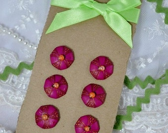 Vintage wooden Buttons - fuchsia 6 pc