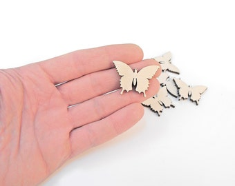10x Mini Wooden Butterfly Shapes Wood Butterflies Embellishment Craft Decoration Gift Decoupage MG000139