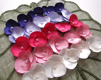 Fabric flowers- Hydrangea Blossoms- Satin sew on appliques (25 pcs)- PINK PURPLE MEADOW (Ivory- Carnation- Fuchsia- Periwinkle- Amethyst)