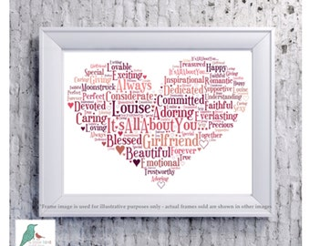 Valentines Day heart word art DIGITAL IMAGE - any colours, any words - Husband Wife Boyfriend Girlfriend etc