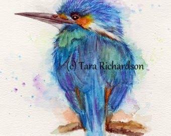 Kingfisher print from an original watercolour painting, birds, wildlife