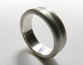 Custom Solid Sterling Silver Beveled Mens Wedding Band in Satin or High Polished. Men's Wedding Ring. Custom Wedding Band.