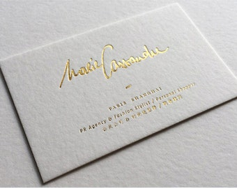 200 Business Cards - 14 PT textured scotland matte recycled stock - with metallic foil gold/silver and more -  custom printed
