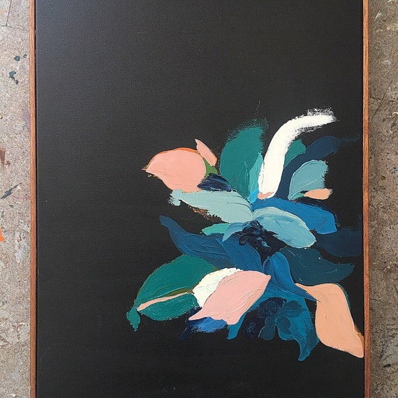 Abstract Botanical Series Black Original framed painting