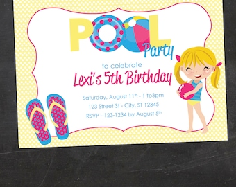 Little Girl Pool Party Invitation - Custom Printable Birthday Party Invite