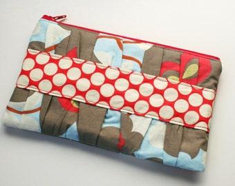 Women's Wallet - Gathered Clutch - Zipper Wallet - Fabric Wallet - READY TO SHIP