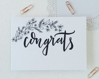 Congrats calligraphy greetings card. Wedding card. Congratulations card. Engagement card. New baby card