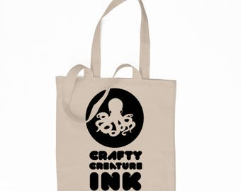 Crafty Creature Ink Logo 6 oz. Tote Bag, Grocery Bag, Book