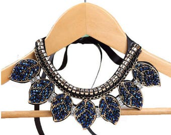 Blue Crystal Leaves Necklace