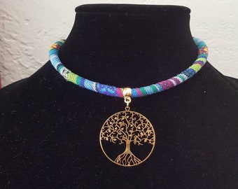 Tree of live pendent ,woven colored cord