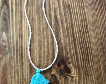 Ombre blue tassel necklace