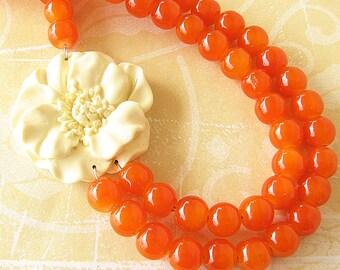 Statement Necklace Beaded Necklace Flower Necklace Orange Jewelry Orange Necklace Bridesmaid Jewelry