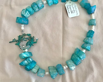 Mermaid Necklace Aqua Titanium Quartz Pearls Patina Mermaid Toggle Mermaid 3 In 1