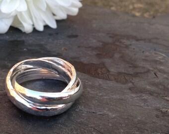 British made silver chunky 3 band Russian wedding ring.