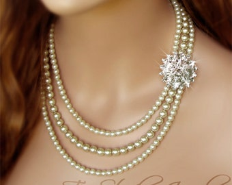 3-Strand Pearl Bridal Necklace, Bracelet and Earrrings Set with Rhinestone Crystal Flowers - KATARINA
