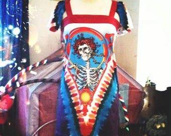 Bertha... Grateful Dead  - UPCycled - T Shirt Dress - Sweet and Simple Feminine  Flutter Sleeve ToP HANDMADE eco Fashion