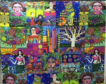 Patchwork ,Mexican Fabric Printed ,Frida Kahlo ,Pop Art Fabric