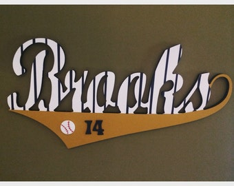 Custom Boys Baseball Style Name Sign - Nursery Wall Letters Name Sign - Wood Wall Letters Boy Style - Vintage Style Baseball Sign