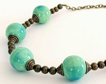 SALE- Funky, Chunky Ceramic and Antique Brass Necklace