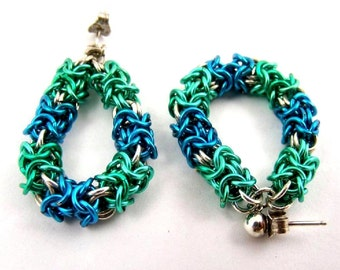 Colorful Chainmaille and Sterling Silver Hoop Earrings, Blue and Green Bohemian Jewelry