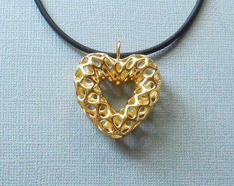 Mesh Heart Pendant in 18KT Gold Plated Brass - Made using 3D Printing/3d printed pendant