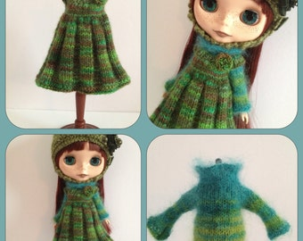 PDF knitting pattern - Cozy Comforts pleated pinafore and sweater Blythe and Middie Blythe.