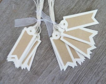 set of 20 tags in ivory and kraft, vintage style, off-white tie