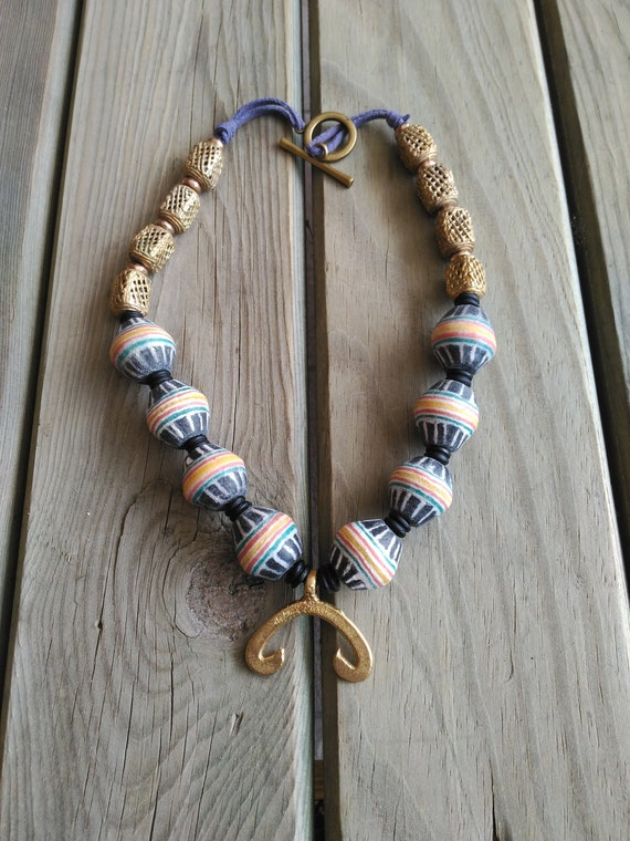 African Necklace, Africa Necklace, Woman African Necklace, Artisan Necklace, Handmade Necklace, OOAK