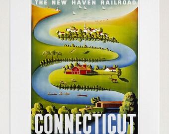 Connecticut Art Vintage Travel Poster Print Home Wall Decor (XR360)