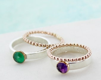 Stackable Gemstone Ring - Gift for Girlfriend - Amethyst Ring - Onyx Ring - Personalised Ring - Stacker Rings - Silver and Gold Rings - Ring