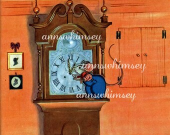 "Baby's Room Art ~   ""Hickory Dickory Dock""  Restored Art  #96 (Set One)  FREE SHIPPING"