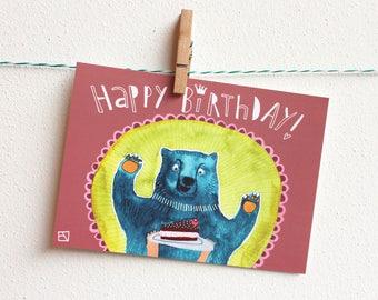 Happy BIrthday! A6 postcard with bear & cake!