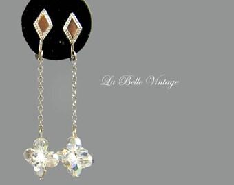 50s Crystal Dangle Earrings Vintage Beaded Clusters