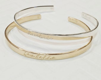 Stacking Silver Bangle Bracelets - Hand Stamped Bracelets - Gold Name Bangles -  Mother's Jewelry Custom Cuffs - Personalized - Mother's