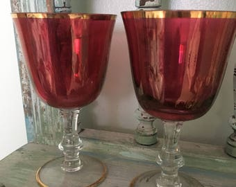Perfect pair of cranberry & gold vintage wine glasses