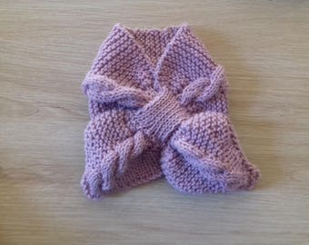 Leaf old baby pink lamb d woolen scarf.