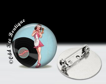 """Pinup Girl & Record Pin - Rockabilly Brooch - 45 RPM, Vinyl Accessory - Vintage Pin-Up Button - Retro Gift - 1"""" Silver and Glass Pin"""