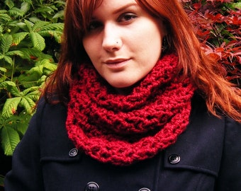 Christmas Red Cowl Scarf Crochet Accessory