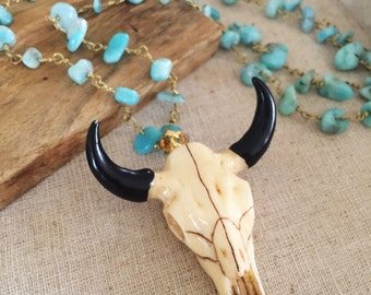 Beaded Bull Skull Bohemian Layering Boho Necklace Turquoise Statement