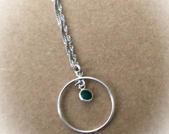Minimalist Silver Circle Necklace, Green Emerald Gemstone Pendant Necklace, Eternity Circle Pendant Necklace, Women Gift