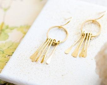 Gold Fringe Earrings, Fringe earrings, Minimalist earrings, Hammered earrings, dangle earrings, Modern dangle earrings, gift for girlfriend