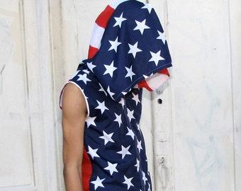 American Flag Hoodie - USA handmade mens hoodie - zippered - mens shirt- mens clothing- jacket - upcycled clothing - windbreaker