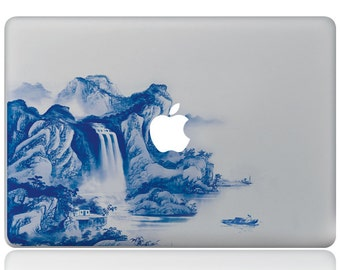Macbook 13 inch decal sticker water fall and apple art for Apple Laptop